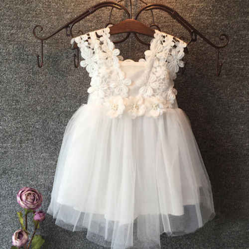 Pudcoco Summer Kids Clotnes Sleeveless Elegant Feast Baby Girls Princess Dress Lace Flower Tulle Tutu Gown Formal Party Dress