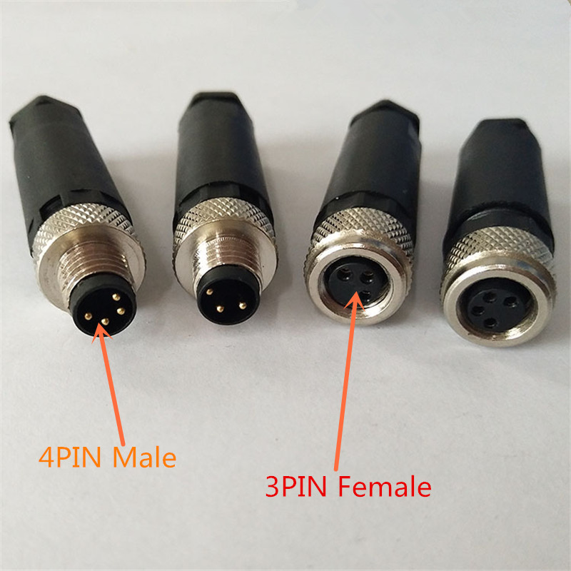 1PCS YT2218 <font><b>M8</b></font> waterproof aviation <font><b>plug</b></font> female/male 3PIN 4PIN sensor encoder connector screw fixation non-welding image