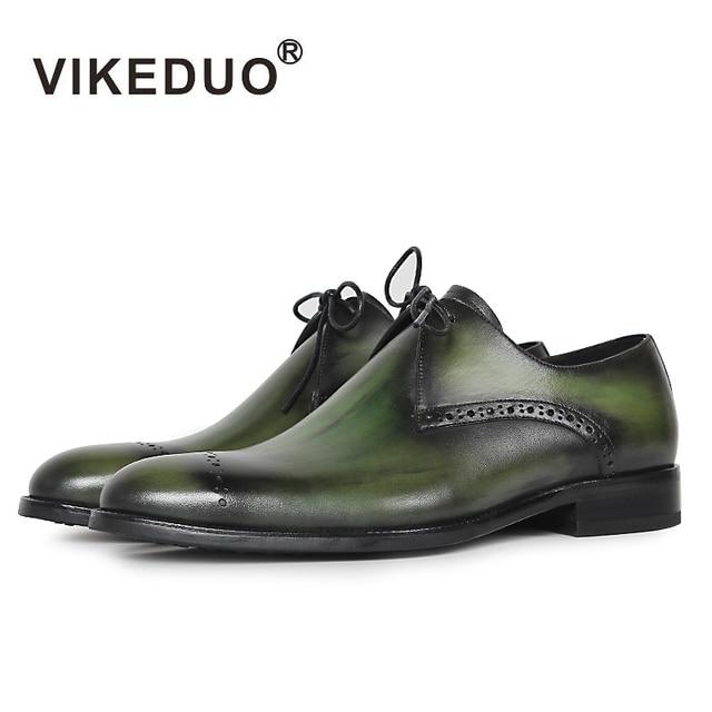 VIKEDUO Hot Luxury Vintga Handmade Genuine Leather Wedding Party Office Male Dress Shoe Lace-up Original Design Men Derby Shoes