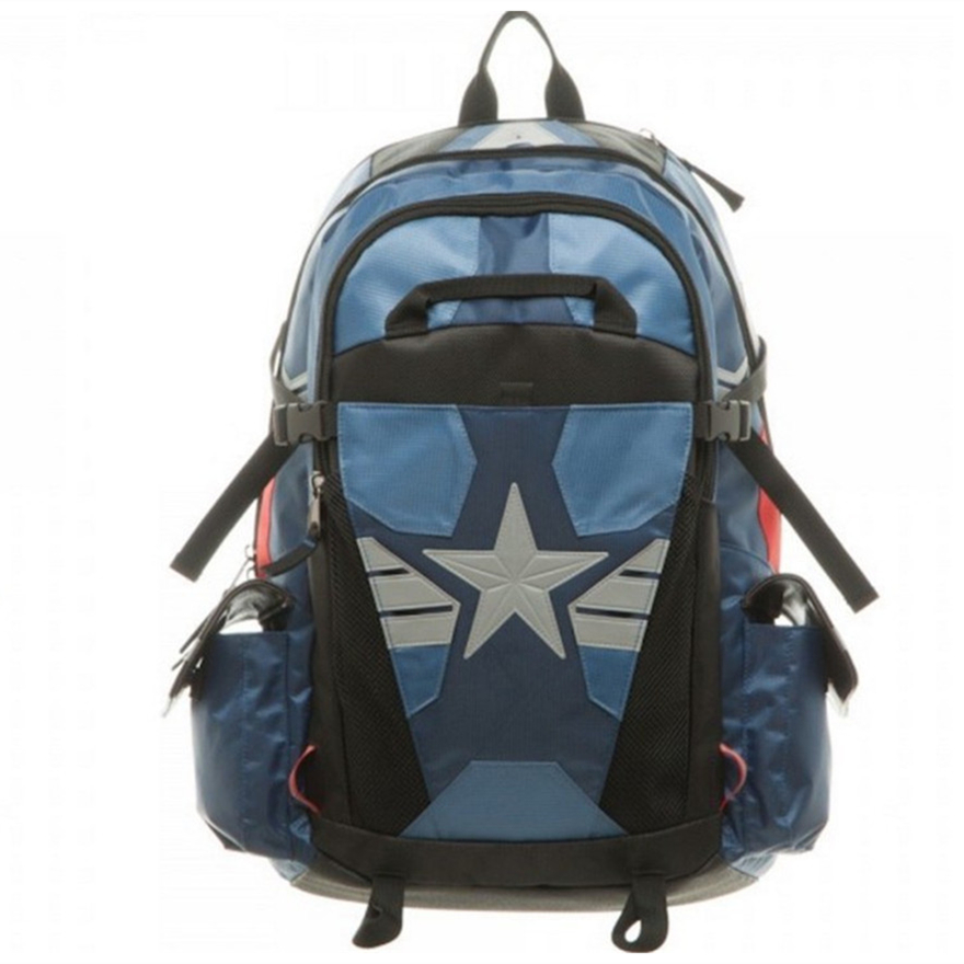 Captain America Men Leather laptop Backpacks Cartoon School bags for teenager Travel bag orthopedic School Backpack Bolsa hombre famous brand school backpack the avengers captain america iron man fashionable laptop backpacks high quality leather