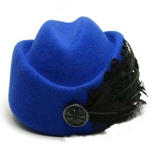 Image 5 - Fibonacci Fedora moda Vintage cappello di feltro di lana donna elegante berretto piume hostess cappelli Fedora chiesa cappelli formali da donna