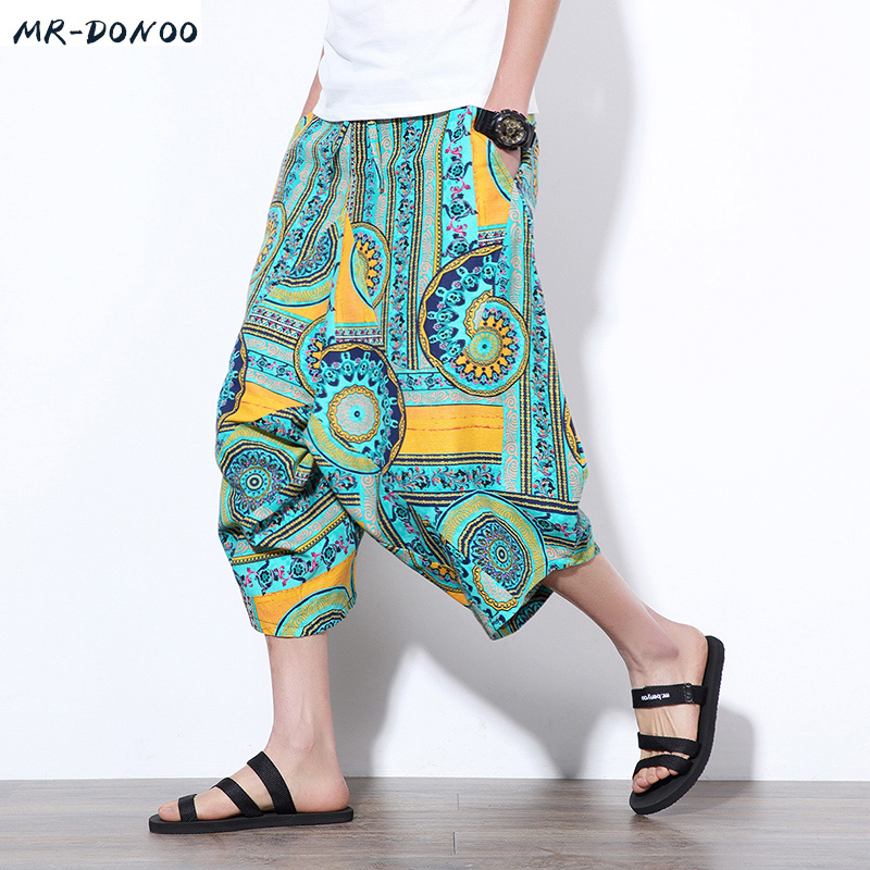 MRDONOO 2018 Summer Chinese style Men Loose Linen   Shorts   Knee Length Harem Pants Male Bermuda Casual Board   Short   Pants M-5XL
