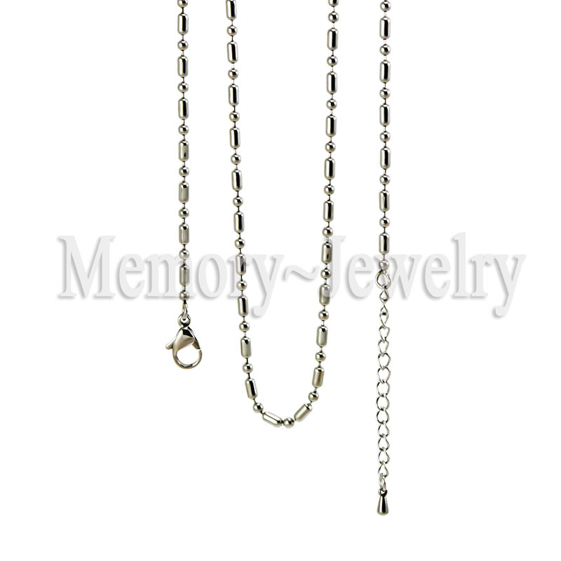 10pieces  lot stainless seel 2 4mm bamboo and ball chain origami owl floating chains on