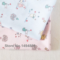 2 Meters Fresh Pink Blue Color With Rabbit Prints Pure Cotton Twill Fabric For Bedding And