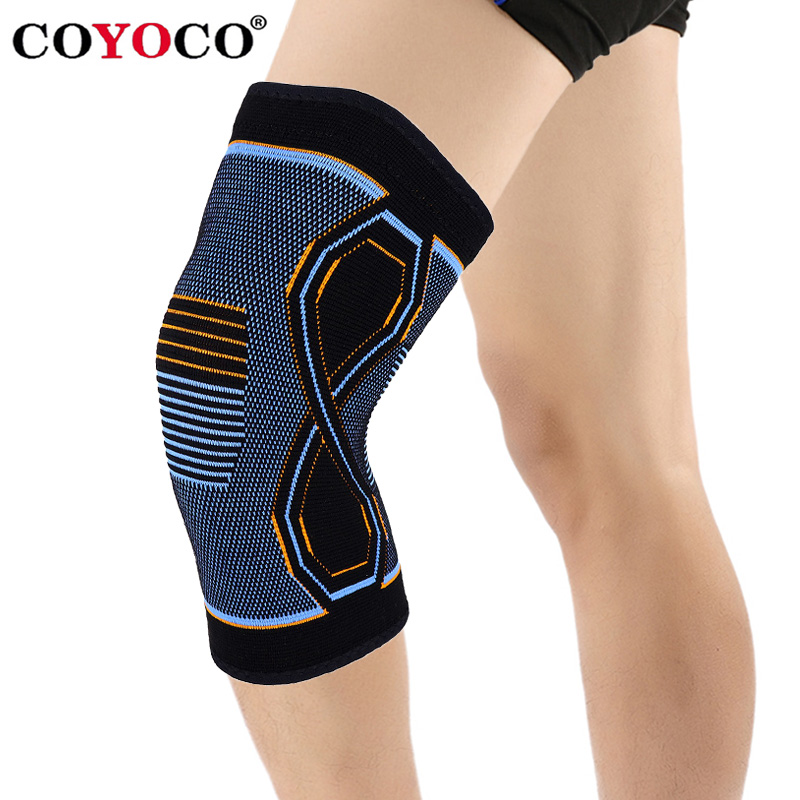COYOCO 1 Pcs <font><b>Sport</b></font> Knee Brace Support 8-shaped Blue Orange Pattern Kneepad Knee Warm for Joint Pain Relief and <font><b>Injury</b></font> Recovery image