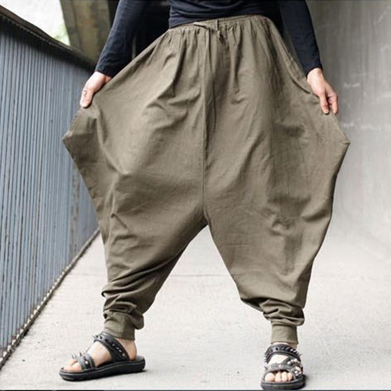 Free Shipping Men Japanese Samurai Style Trousers Boho Casual Low Drop Crotch Loose Pants Linen Harem Baggy Hakama Pants 102403
