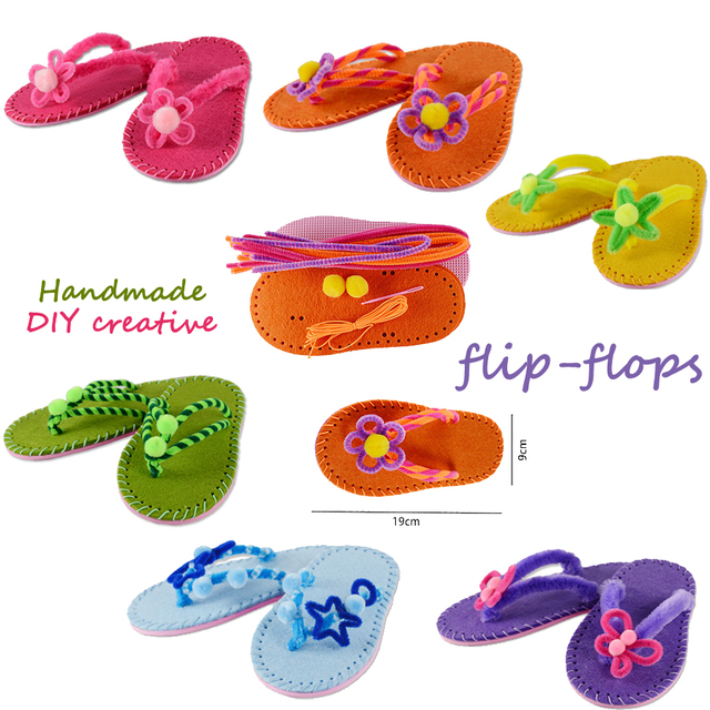 5de556009 DIY slippers sewing kit flip-flops Learning Felt Fabric Material Preschool  Teaching kids Art   Crafts Montessori Educational Toy