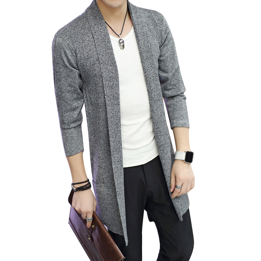 Hot Casual Md-Long Long Sleeve Knitted Cardigan Men's Solid Color Coat Slim Fit Outwear Drop Shipping