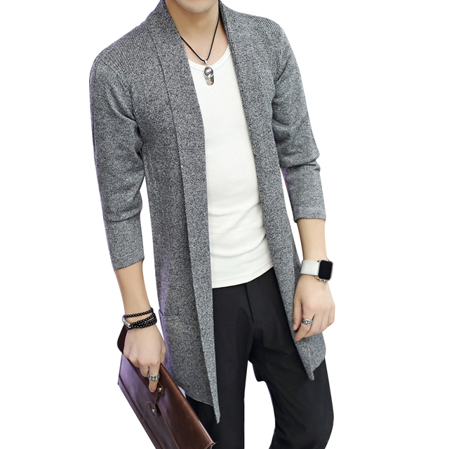 4e93244e2 Hot Casual Md-Long Long Sleeve Knitted Cardigan Men s Solid Color Coat Slim  Fit Outwear Drop Shipping