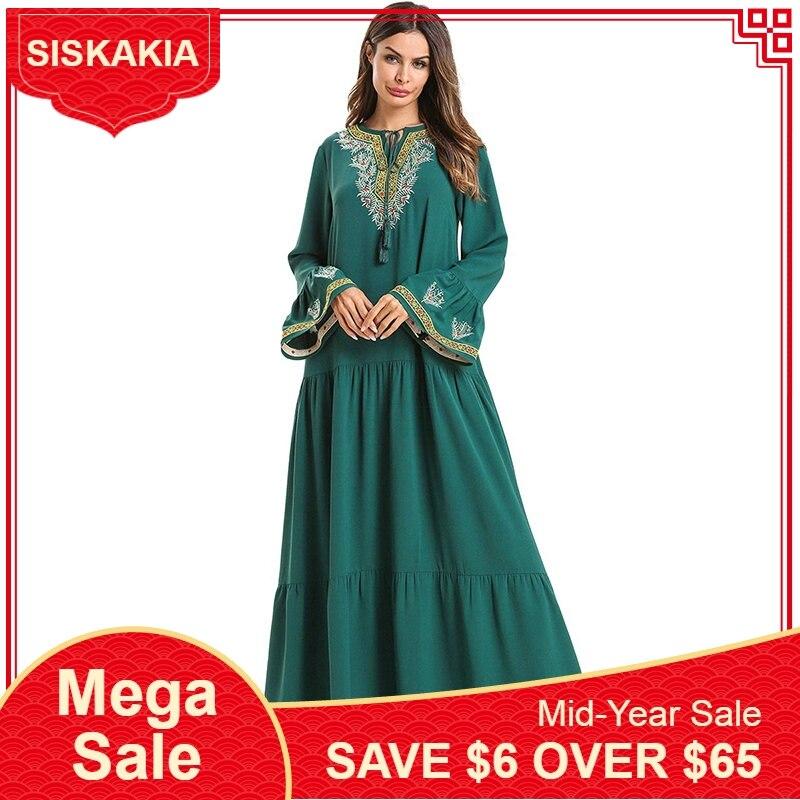 Siskakia Vintage ethnique printemps robes 2019 élégant femmes Maxi longue robe Ramadan Flare manches longues drapé balançoire robe vert