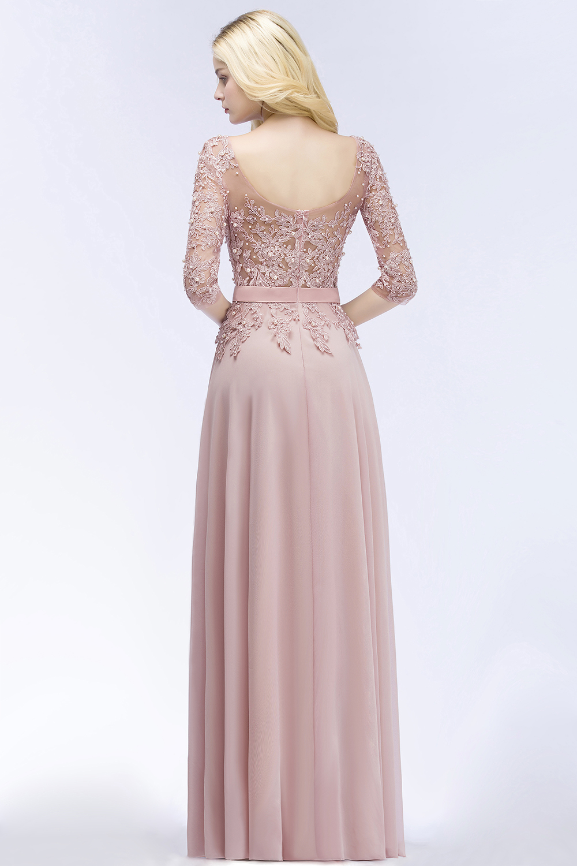 2019 Burgundy Pink Navy Chiffon Long Bridesmaid Dresses Scoop Neck Half Sleeve Wedding Party Gown vestido madrinha