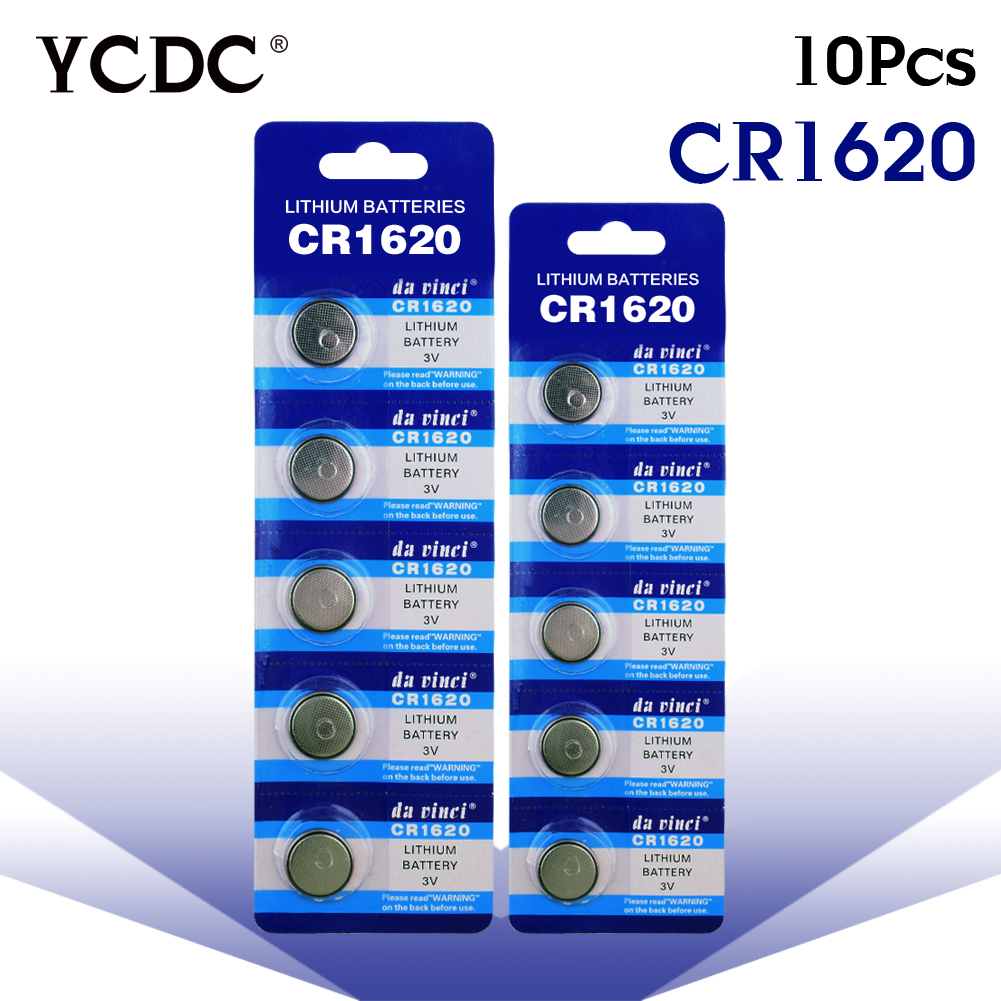 YCDC 11.11 Big Promotion 10Pcs CR1620 CR 1620 3v Lithium button Battery Remote control car remote battery Scales 2x panasonic cr1620 button cell coin batteries cr1620 car remote control electric alarm 3v lithium battery