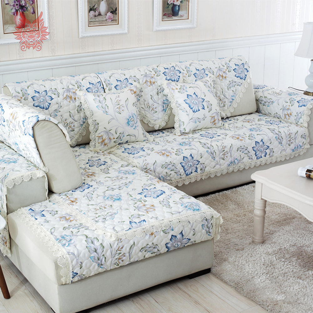 Aliexpress Com Buy Pastoral Blue Coffee Floral Sofa