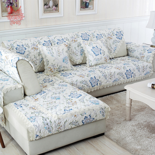 Past Blue Coffee Fl Sofa Cover Faux Linen Quilting Slipcovers Sectional Furniture Covers Capa De