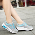 Women shoes 2016 Spring Summer breathable height increasing women shoes fashion Mesh Lace-up Cut-Outs sport casual shoes ST791