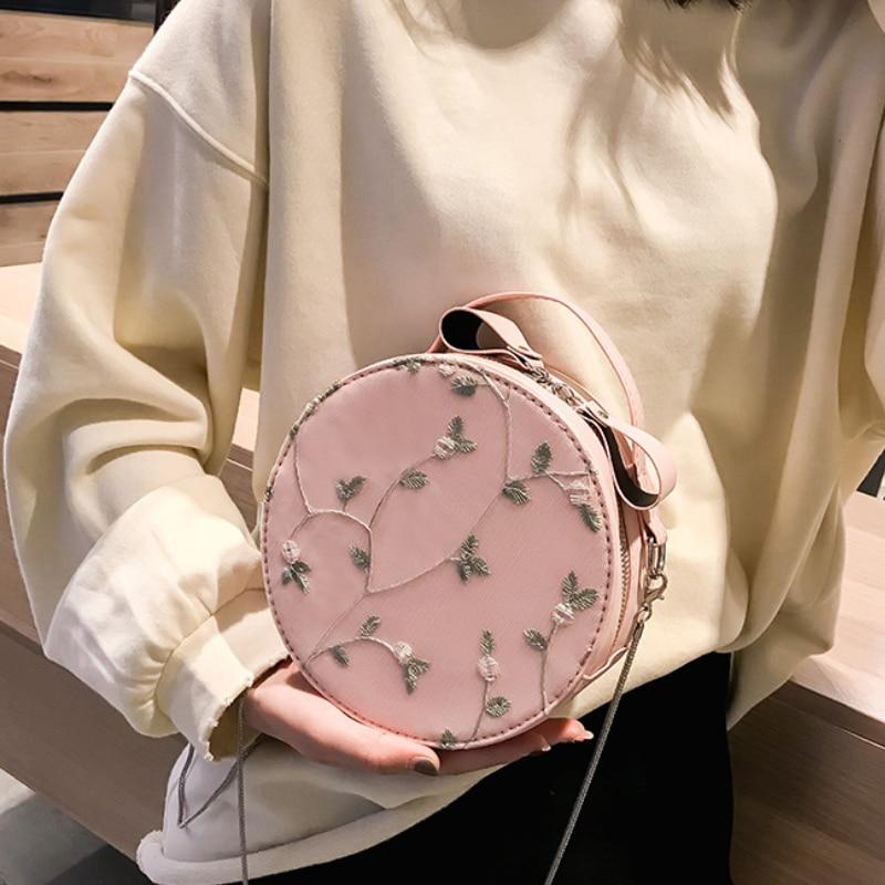 Gray Del Bag Coreano Di Sacchetto Della Circolare Merletto Estate E Pink Catena Piccolo Crossbody Modo Semplice Borsa Signora light Spalla white 5wx4R