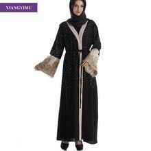 fashion muslim adult  Lace embroidery abaya dubai islam kaftan turkish robe arabe longue caftan marocain