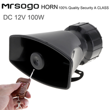12V 100W 7 Tone Sounds Loud Car Vehicle Warning Alarm Police Fire Siren Horn Speaker with Remote Controller цена 2017