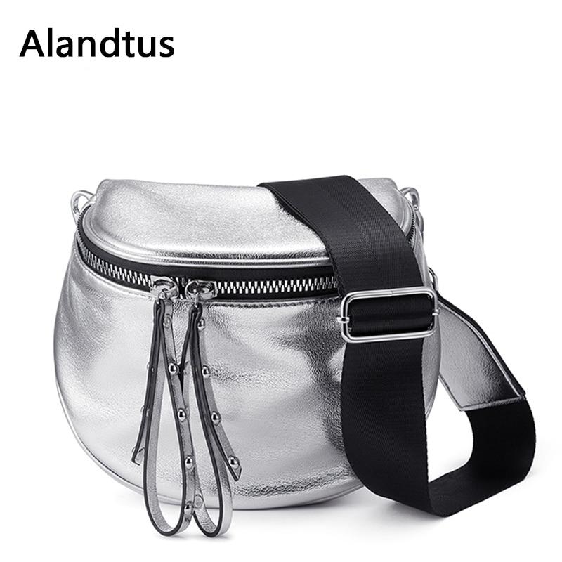 Alandtus Crossbody Bags For Women Soft Leather Shoulder Bags 2019 Casual Ladies Messenger Bag Pu Leather Saddle Bucket Bag Bolsa