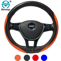 DERMAY 2017 NEW Car Steering Wheel Cover Microfiber Leather Size M For Hyundai Solaris Elantra I30