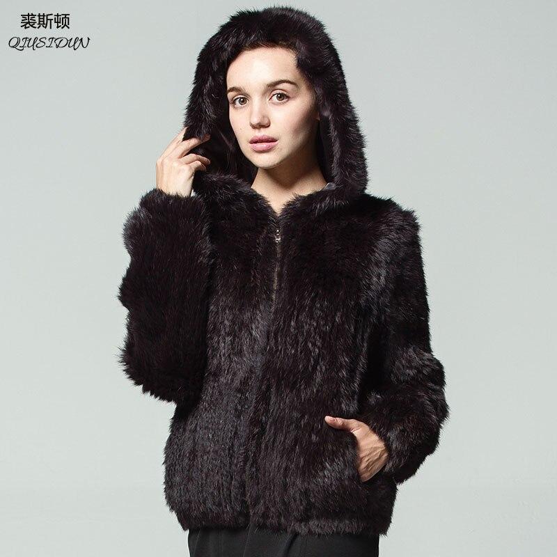 QIUSIDUN Rabbit Knitting Fur Coat Winter Women's Warm Fashion Jacket Hooded Big Coats Solid Full V-Neck Pockets Knitted coats