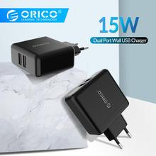 ORICO Wall Charger EU Plug Dual Port Mobile Phone Charger 5V2.4A 15W USB Travel Charger Portable for Phone Tablet orico dub 4p bk 4 port usb 2 4a super charger for tablet pc cellphone black us plug