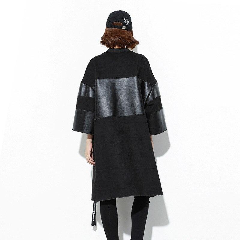 Spliced 1093 Pu Grandes Tailles Pardessus Black Dames Lâche Cuir Coupe Noir Tranchée Faux En vent Pour Manteau Vêtements Occasionnels Femmes pffrqwd