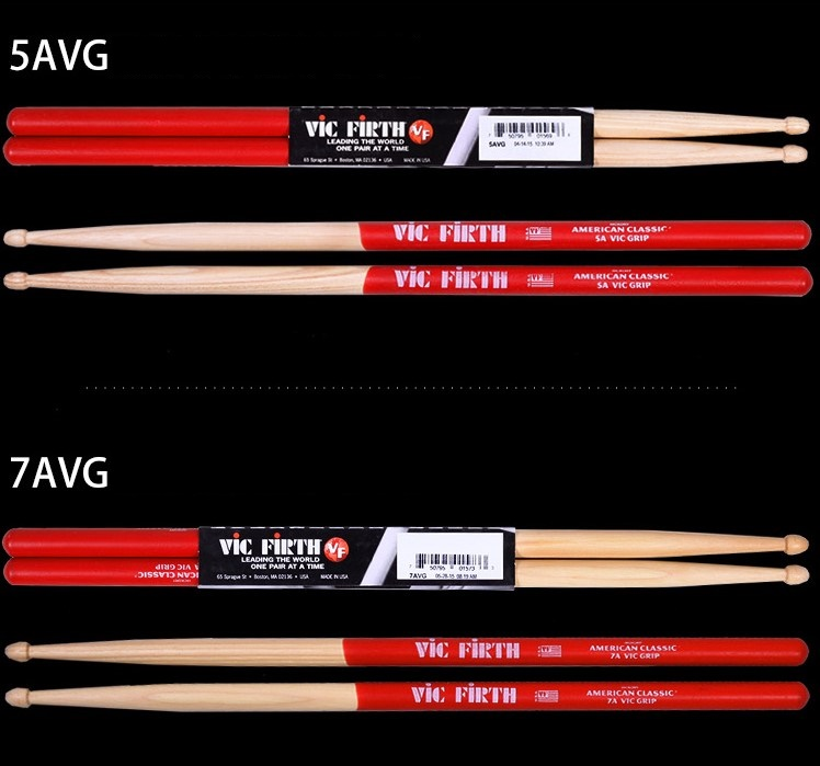 Vic Firth Hiskory Drumsticks 5AVG 7AVG with Vic Grip Anti slip Made in USA