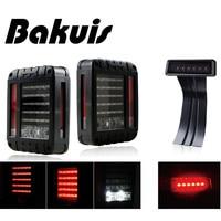 Bakuis For Jeep Wrangler JK JKU 2007 2017 Red Lens Red LED Tail Light w/ Turn Signal & Back Up & Smoke 3rd LED Brake Light