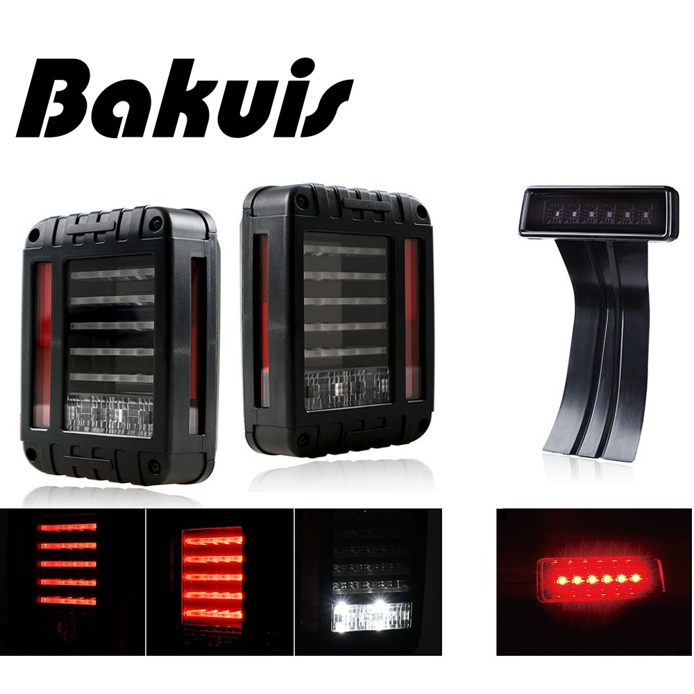 Bakuis For Jeep Wrangler JK JKU 2007 - 2017 Red Lens Red LED Tail Light w/ Turn Signal & Back Up & Smoke 3rd LED Brake Light auxmart 22 led light bar 3 row 324w for jeep wrangler jk unlimited jku 07 17 straight 5d 400w led light bar mount brackets