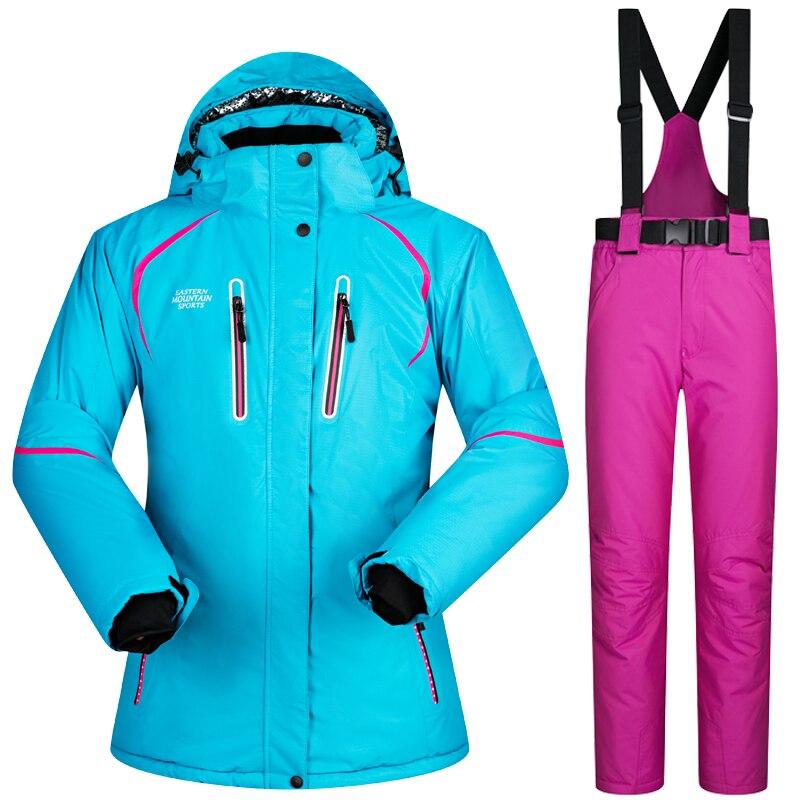 2018 Nouvelle Haute Qualité Femmes Jeu De Combinaison De Ski Coupe-Vent Imperméable Chaud Snowboard Veste et Pantalon D'hiver de Neige Veste Femmes pour ski