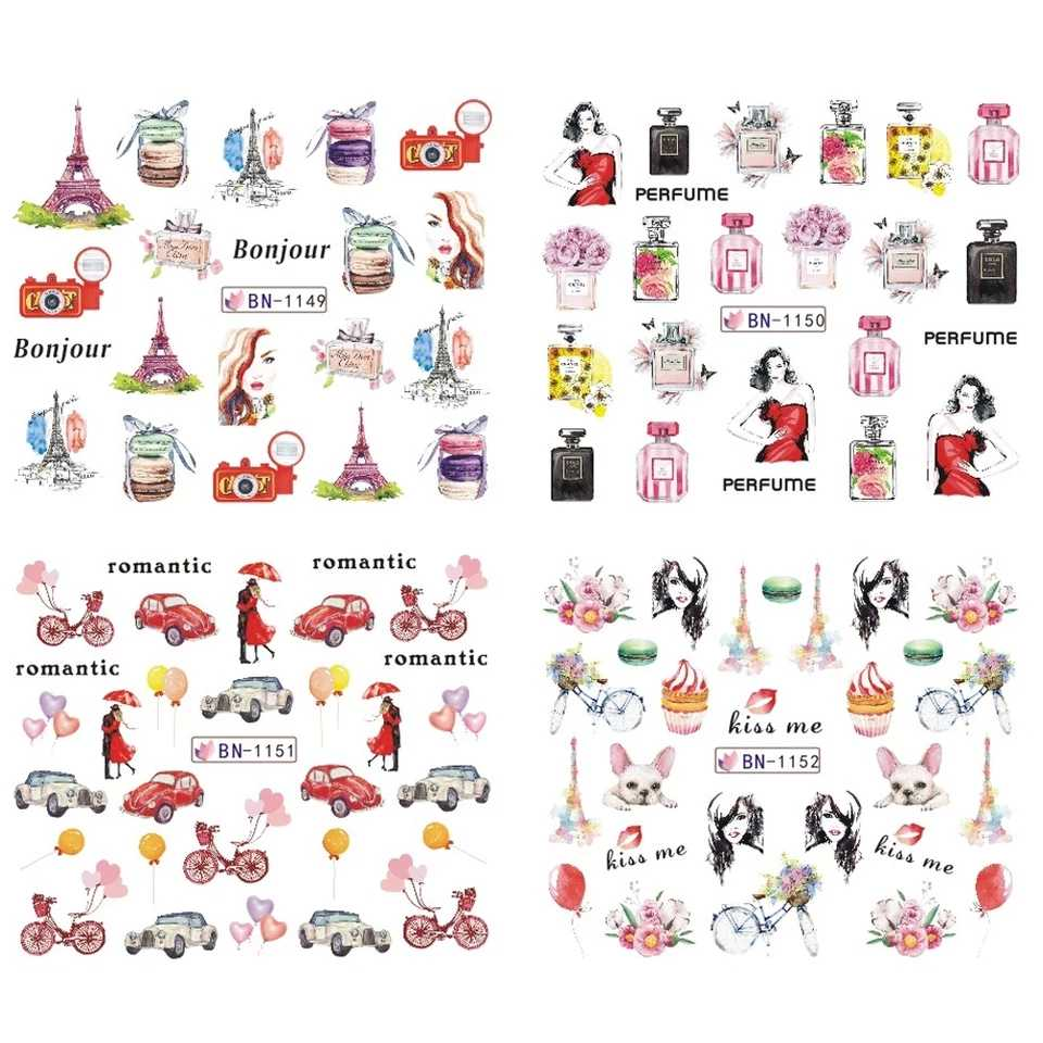 1 set 12 designs romantic flower tower perfume slider nail sticker transfer water design manicure nail