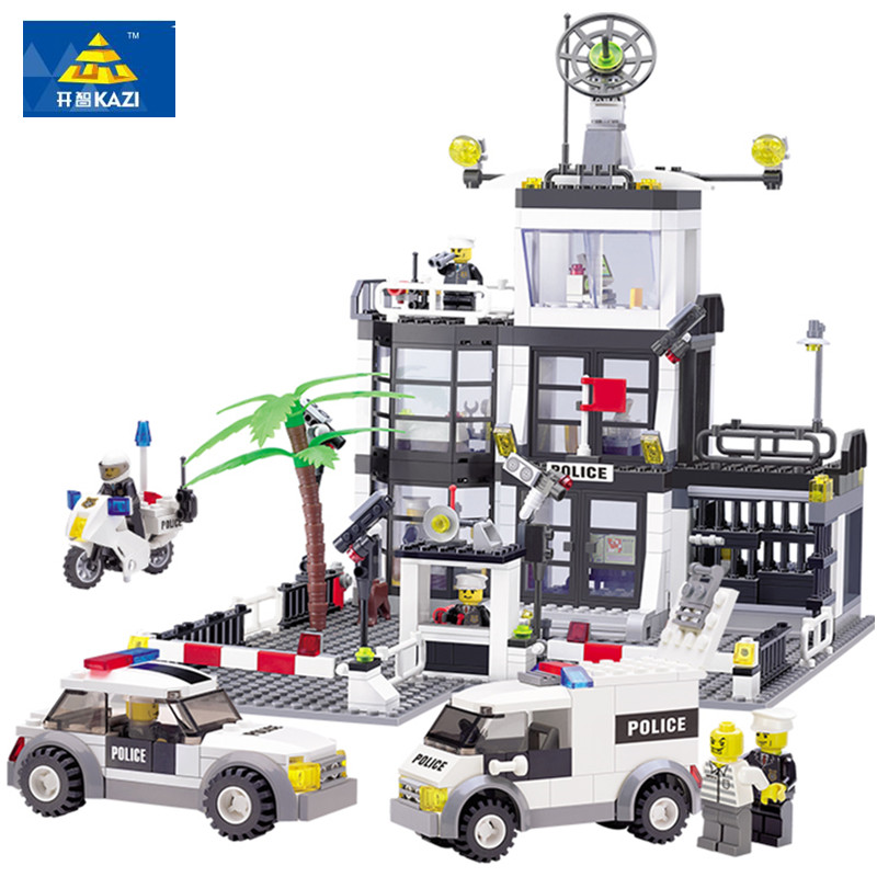 KAZI 631Pcs City Police Station Building Blocks action figure baby toys for children building bricks brinquedos drop shipping 6725 kazi city series police station model building blocks classic enlighten diy figure toys for children compatible legoe
