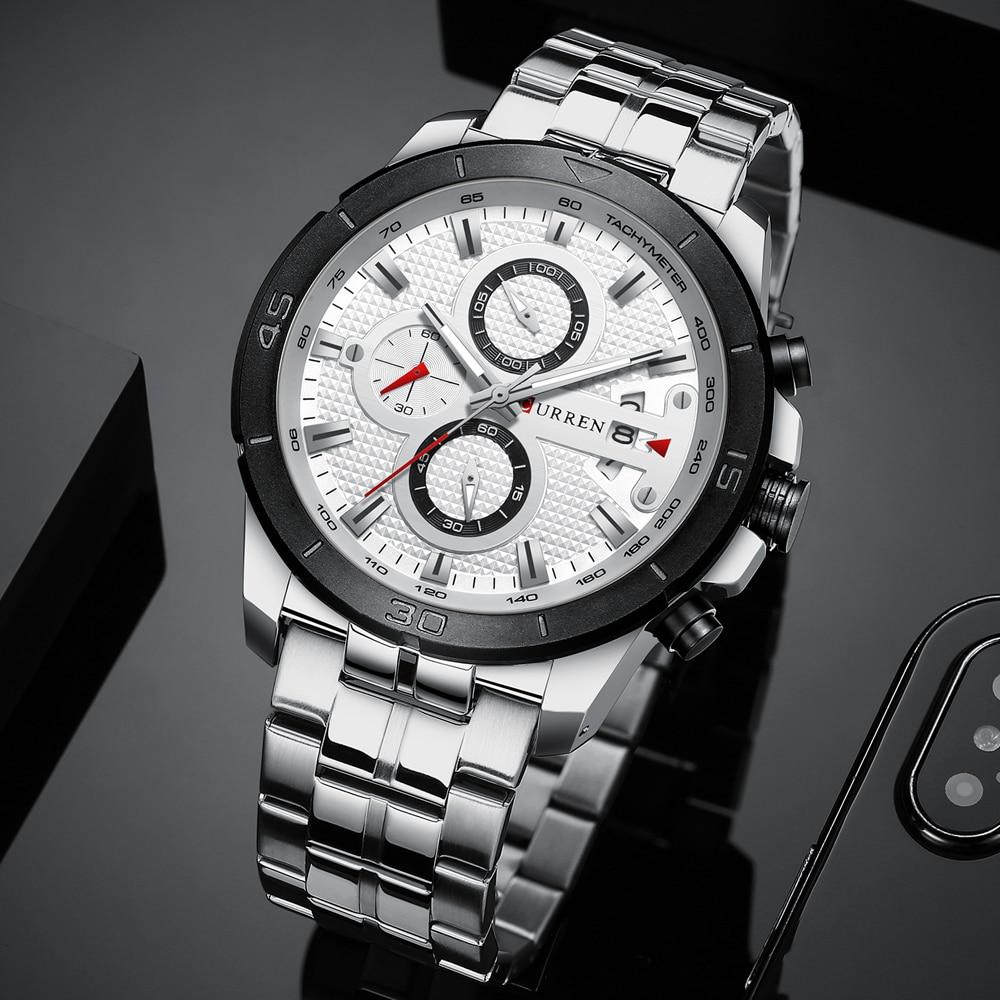 HTB1ACuvcBiE3KVjSZFMq6zQhVXaP CURREN Business Men Watch Luxury Brand Stainless Steel Wrist Watch Chronograph Army Military Quartz Watches Relogio Masculino