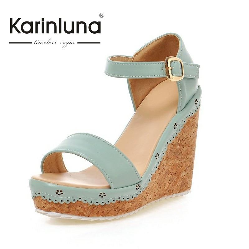 KARINLUNA New Arrivals Big Size 33 43 Platform Woman Sandals Fashion Wedges High Heels Ankle Strap