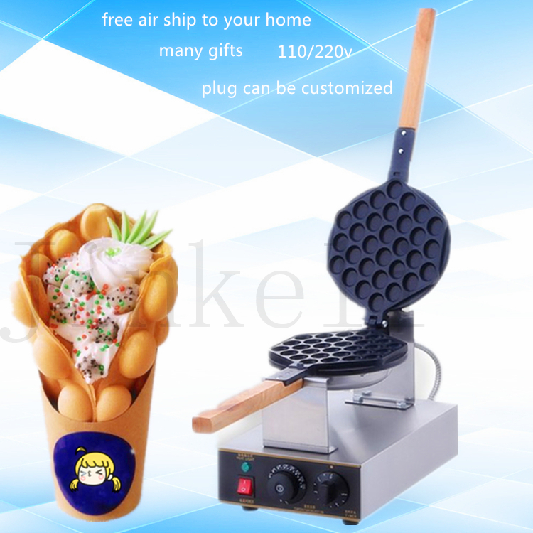 Free ship 220V/110V commercial electric Chinese Hong Kong eggettes puff cake waffle iron maker machine bubble egg cake oven free ship best professional electric chinese hong kong eggettes puff waffle iron maker machine bubble egg cake oven 220v 110v