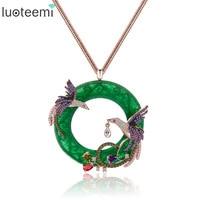 Teemi New Arrival Atmosphere Elegant Big Round CZ Pendant With Mirco 2pcs Multi Phoenix Zircon Jewelry