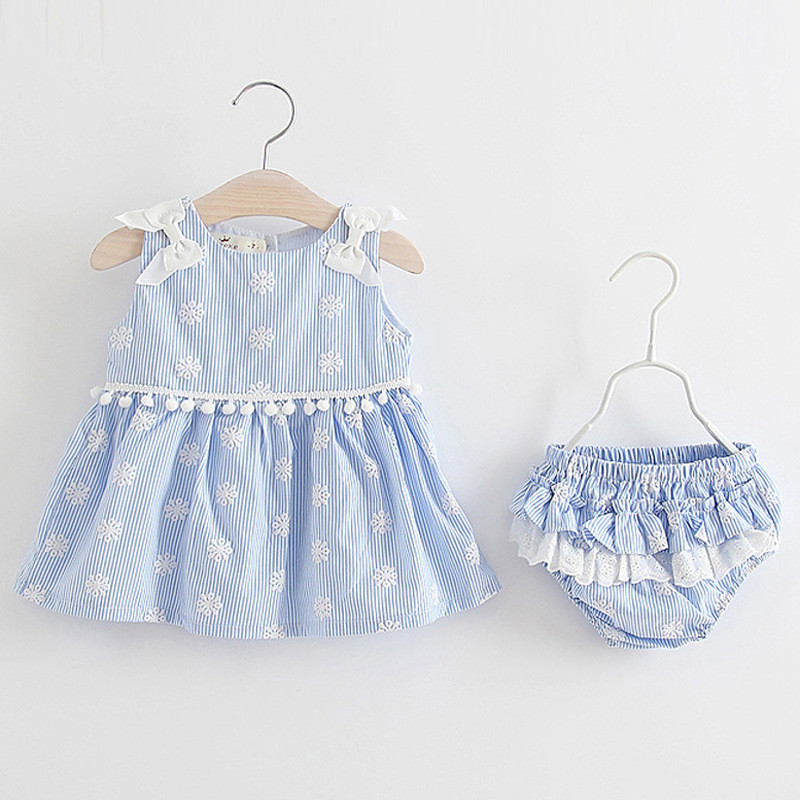 2 pcs sets of clothing newborn baby girl dress infant dress floral dress bowknot + underwear shorts clothing childrens clothing