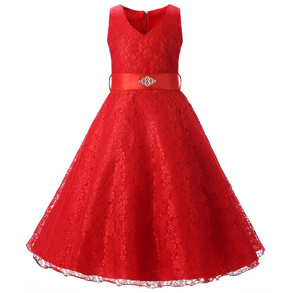Buy solid ribbon teenagers kids dress for Dresses for teenagers for weddings