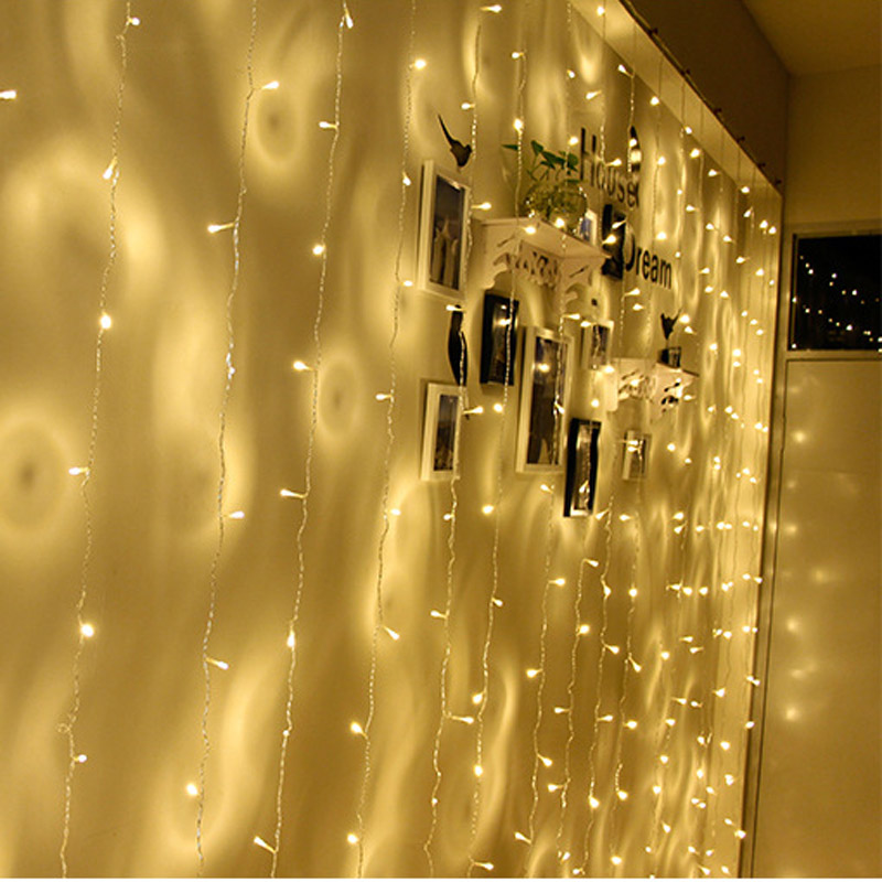 Image 4 - EU US Plug 3m*3m 300 LED String Fairy Curtain Light Garland Christmas Festival Lights Wedding Party New Year Decorative Lights-in LED String from Lights & Lighting on