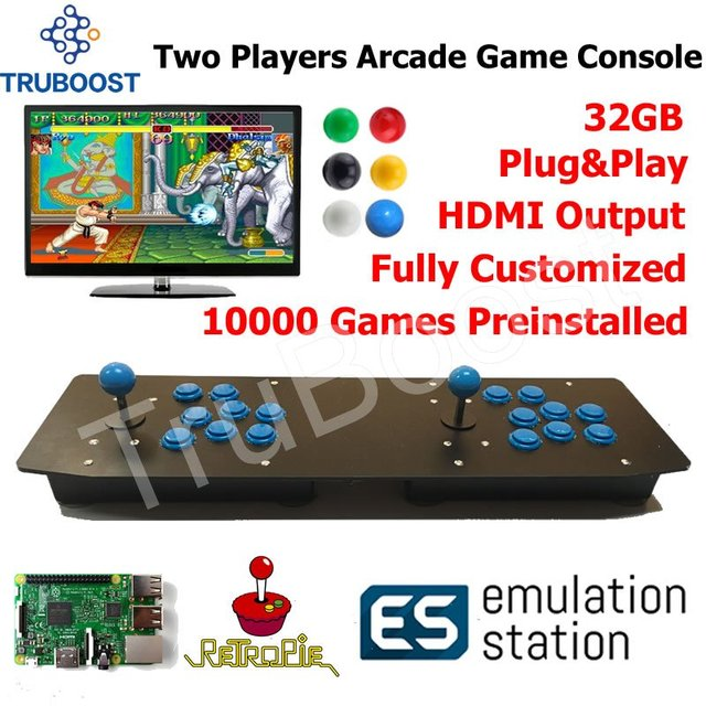 Two Players Arcade Game Console Plug Play Powered By Raspberry Pi Retro 10000 Games Preinstalled