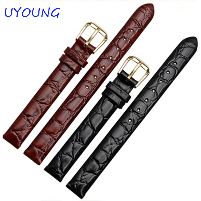 6mm 8mm 10mm 12mm 13mm Black brown Ladies Design Durable Genuine Leather Bracelet small watch Strap women Watch Band купить недорого в Москве