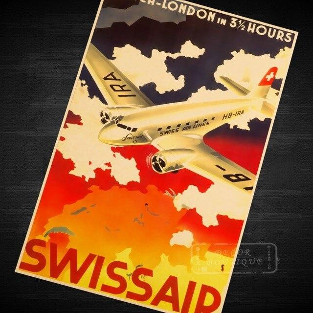 Swiss Air Pop Art Map Classic Vintage Retro Kraft Canvas Painting - Vintage aviation maps