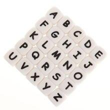 12 мм 100 шт кубические буквы силиконовые бусины Алфавит bpa
