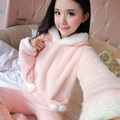 Outono e inverno espessamento flanela pijamas das mulheres pijamas set longo-luva plus size coral fleece conjuntos de pijama desenhos animados salão