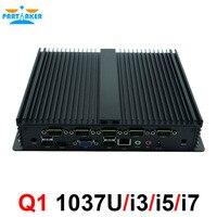 Низкая Мощность прочный промышленные компьютеры Celeron 1037U i5 3317u безвентиляторный мини ПК с 6 * RS232 COM HDMI VGA
