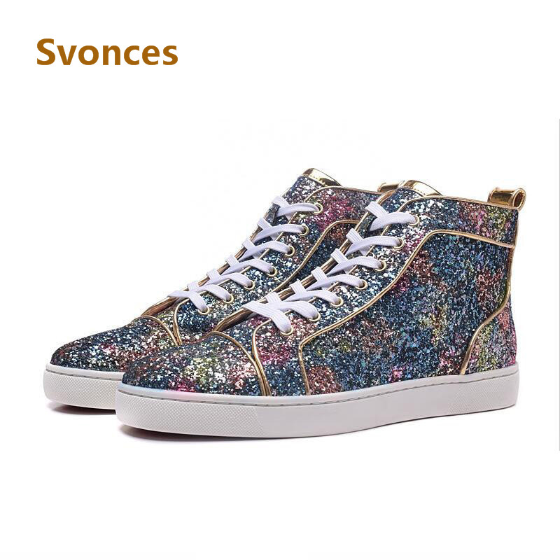 ... Casual Shoes Bling Shinny Glitter Pink Red High Top Platform Bottom Mens  Boots Lace Up Luxury Designer Shoes Men on Aliexpress.com  68654e2239fb