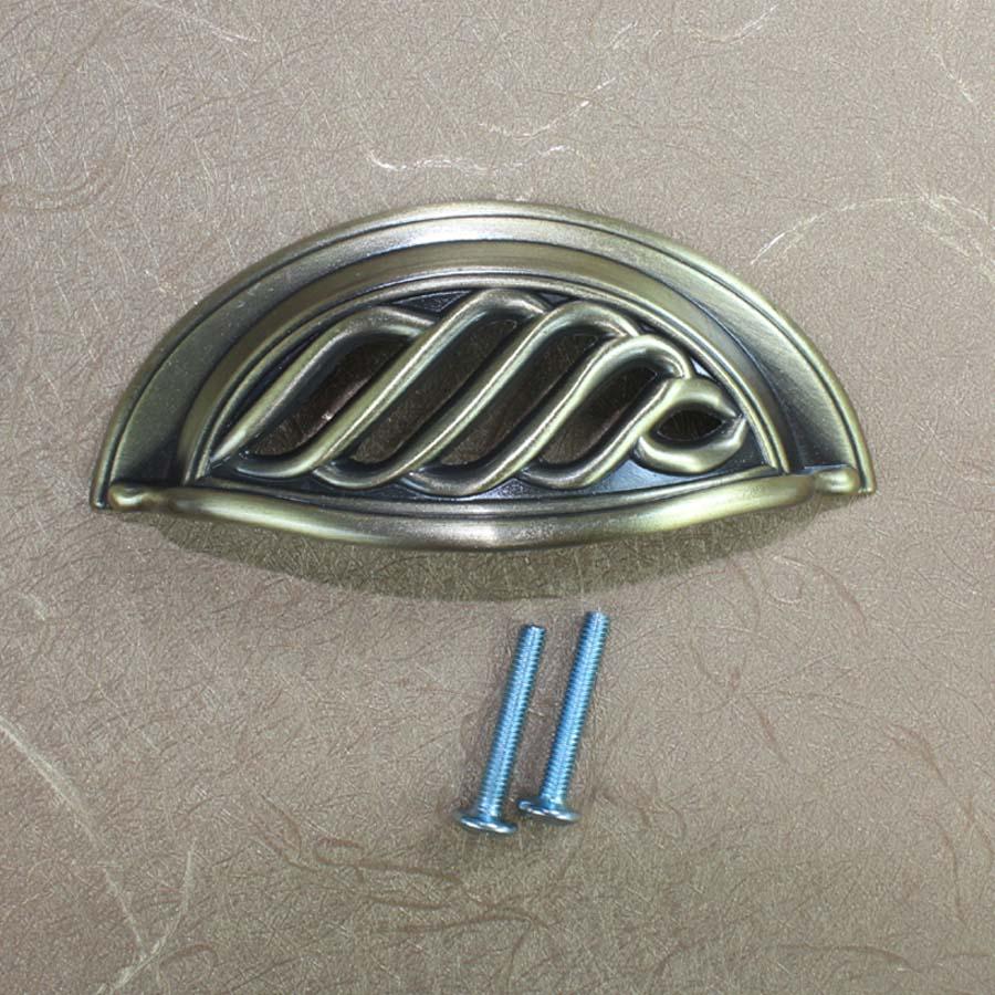 64mm bronze cap shell vintage furniture pulls brushed antique brass drawer cabinet pulls knob antique bronze