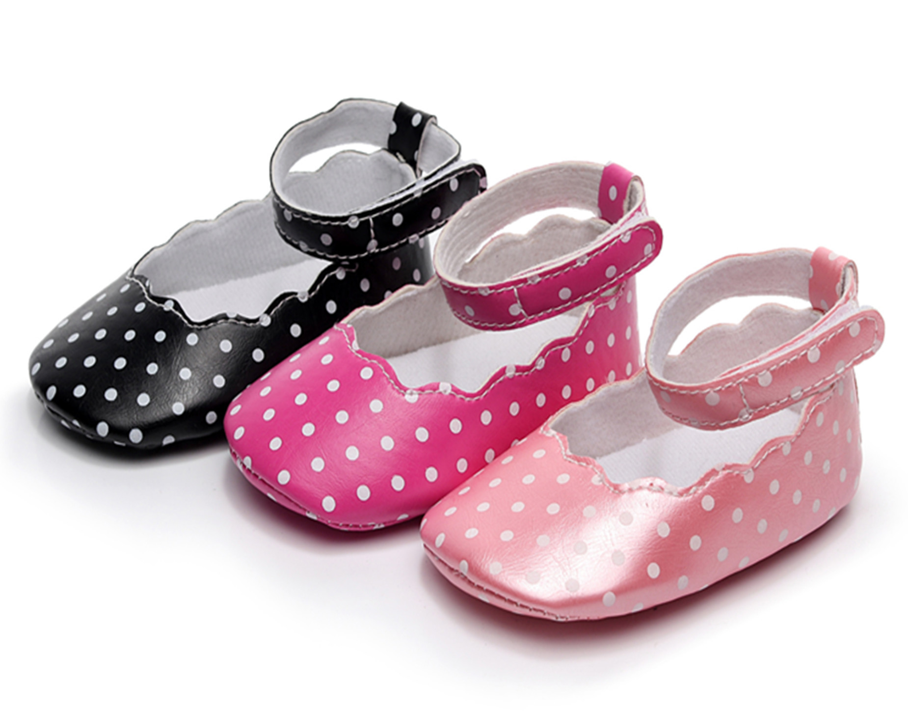 2018 Cute Polka Dot Shallow Lace Dancing Shoes Baby Girls Soft Bottom First Walkers Infant Princess Shoe