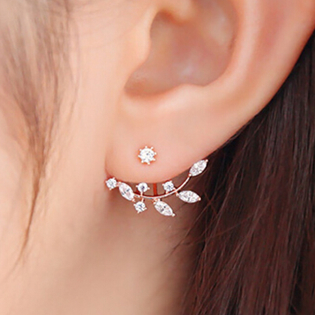 Earing Rose Gold Earring Leaves Earings For S Aros Boucle D Oreille Flower Crystal Small